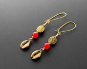 African Earrings, Tribal Earrings, Cowry Shell Earrings, Brass Cowry Shells, African Jewelry, For Her, Masika African Brass Cowry Earrings