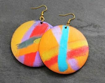 Wood Earrings, Painted Wood Earrings, Statement Earrings, Big Earrings, Colorful, Hand Painted, For Her, Gia Hand Painted Wood Earrings