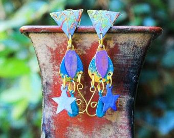 Vintage Brass Earrings, Hand Painted Brass Earrings, Colorful Earrings, Post Earrings, Celestial Hand Painted Brass Post Earrings