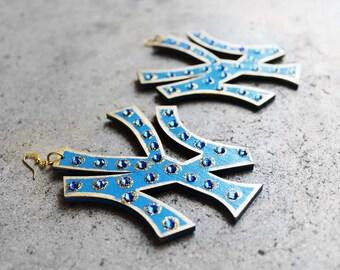 New York Earrings, Wood Earrings, Statement Earrings, Blue Earrings, Bejeweled Earrings, For Her, New York Gurl Bejeweled Blue Wood Earrings