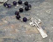 Irish Penal Chaplet of Dark Amethyst Gemstone, Irish Penal Rosary, Tenner Chaplet
