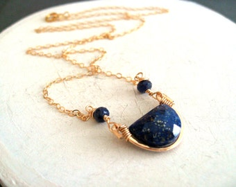 Lapis Lazuli Necklace blue and gold Layering Necklace Boho Art Deco Vitrine Designs Rockpool Necklace
