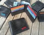 Upcycled mens wallet, bike inner tube wallet, bi-fold wallet, vegan friendly wallet, recycled wallet, minimalist slim wallet