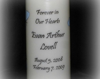 Flameless LED MEMORIAL Candle - Blue Butterflies - PERSONALIZED Hand Painted - with Timer option