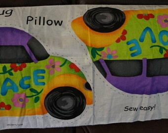 Love Bug Beetle Groovy Peace Pillow Fabric Panel