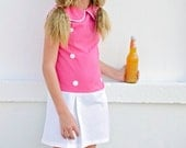 Retro 1970 Style Sleeveless Pleated skirt dress children toddler girl