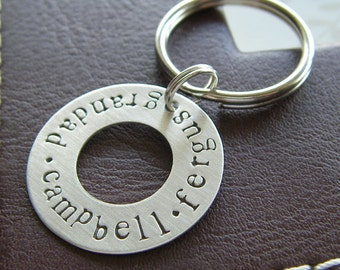 Personalized Washer Keychain - Customized Hand Stamped Sterling Silver Key Chain - Perfect Gift for Father's Day