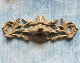 Antique Gargoyle Escutcheon North Wind Hardware Pendant Brass Medieval Lion Jewelry Embellishment
