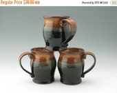 Handmade Pottery XLG Coffee Mug, Honey Brown and Black 24 oz Pot Belly Speckled Stoneware Beer Tankard, Ready to Ship Ceramic Stein