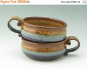 TWO Pottery Onion Soup Bakers Ready to Ship, Honey and Purple 16 oz Serving Bowls with Handle, Stoneware Casserole Set