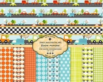 Car Digital Paper pack Zoom Digital Scrapbook paper for invites, card making, digital scrapbooking