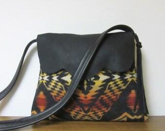 Wool Purse Shoulder Bag Black Deer Leather Trim Blanket Wool from Pendleton Oregon