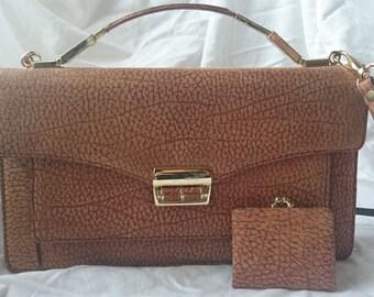 Vintage Brown Leather Handbag Shoulder Bag with Matching Coin Purse Wallet