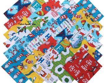 "SQ16 Robert Kaufman DR. SEUSS Precut 6.5"" Fabric Quilting Cotton Squares Dr Seuss"
