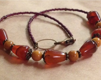 Handcrafted Earthy Autumn Necklace - Carnelian Quartzite Brass - Free U S A Shipping