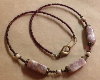 Handcrafted Redline Marble Necklace - Cream Pale Mauve - Brass - Free U S A Shipping