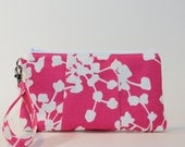 Large Wristlet - Padded Zipper Pouch - Pink Coriander