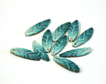 Teal Feathers, Turquoise Feather Beads Blue Green Polymer Clay Beads 10 pieces