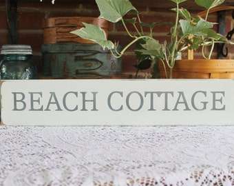 Beach Cottage Wood Sign Hand Painted Worn Vintage Look Wall Decor Coastal Decor Seaside Cottage Chic