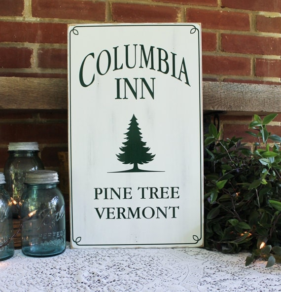 Columbia Christmas Tree: Columbia Inn Christmas Sign Wood Holiday Decor Pine Tree