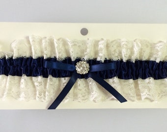 Navy Blue Ivory Wedding Toss Garter