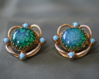 Endora Bauble clip on earrings, Blue and Green glass opal with turquoise