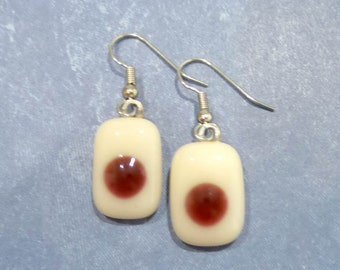 Earrings, Cream and Cranberry Red Earrings, Dangle, Hypoallergenic, Fused Glass Jewelry- - 289 -5