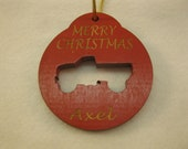 Personalized wooden christmas cut out pick up truck ornament or gift tag