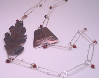 Silver chain with Copper Necklace