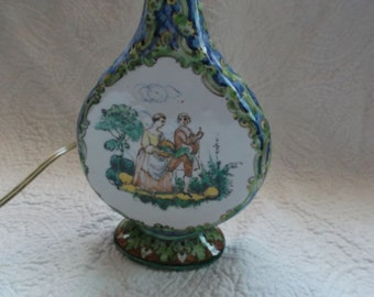SALE!!!   Refined Antique Italian Hand Painted Majolica Lamp