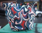 Blue, Purple and Red Swirl Classic Cotton Print Tote Bag, Market Bag, Satchel