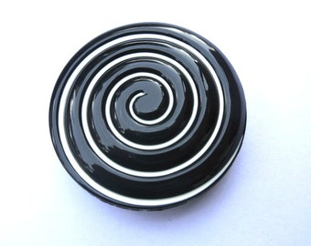 Button, new, black with white spiral, huge 57mm