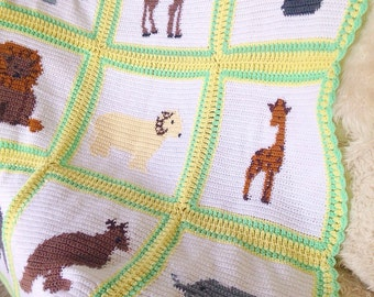 vintage aghan blanket baby child zoo animals australia kangaroo koala camel hippo rhino yak throw crochet knit