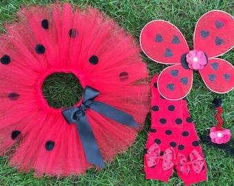 Baby Girl Ladybug Costume - Ladybug Tutu Costume - Halloween Costume - Red and Black Ladybug Tutu Outfit