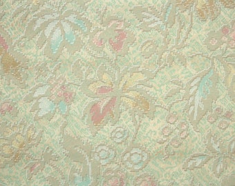 1920's Vintage Wallpaper - Antique Floral Pink and Blue Leaves and Flowers