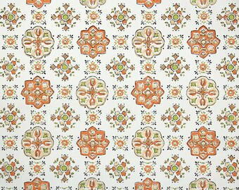 1960s Vintage Wallpaper - Orange Black Brown and Green Goemetric Vintage Wallpaper