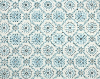 1940s Vintage Wallpaper by the Yard - Blue Snowflake Geometric