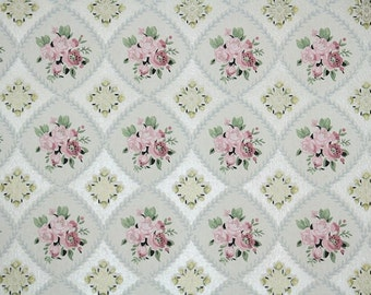 1950s Vintage Wallpaper by the Yard - Floral Wallpaper Pink Rose Clusters