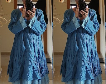 Blue Floaty Fairy LONG TUNIC DRESS Plus Size 18 20 22  Gothic Lagenlook Baggy 2X 3X