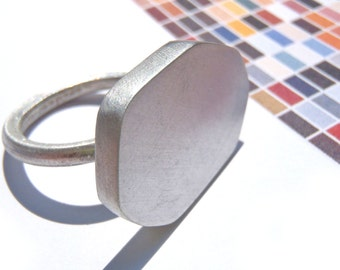 Polyhedra Heptagon Ring a minimal one of a kind piece in Size 7.5 (AM) hand fabricated in sterling matte