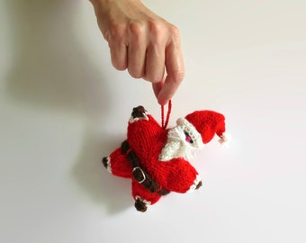 Santa Claus Christmas Ornaments Home Decor Small Pillow One of a Kind Hand Knitted Items Christmas Red Santa Claus Star Doll Stuffed Plushie
