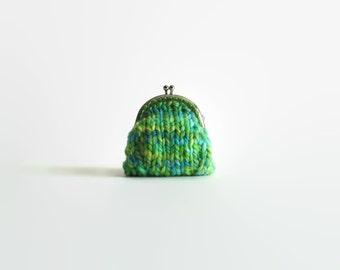 Small Coin Purse Kiss Lock Knitted with Green Blue Wool - Clasp Change Purse