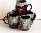 Brown Drip Glaze Pottery Mugs with Blue and White Dripware Red Clay Set of 5