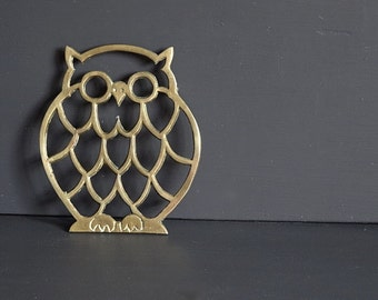 Brass Owl Trivet Kitchen Decor