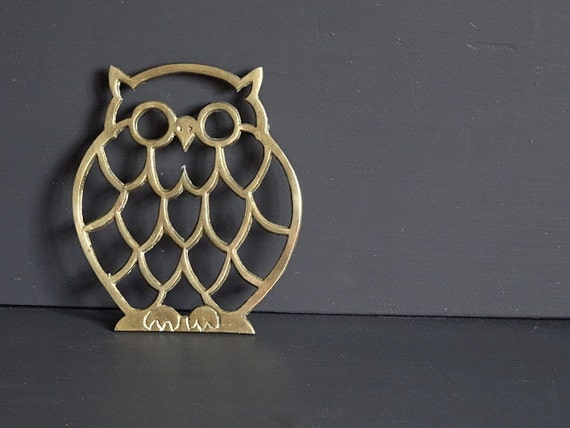 Brass owl trivet kitchen decor Owl kitchen accessories