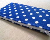 Polka Dots Bright on Bright Blue - Cash Wallet, Clutch, Make Up Bag Large Zippered Pouch - Flat