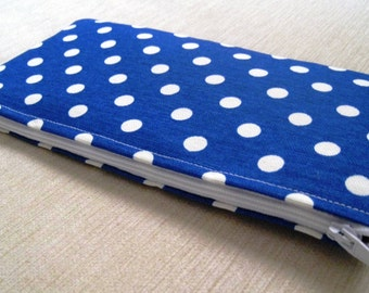 Polka Dots Bright on Bright Blue - Cash Wallet, Clutch, Make Up Bag Large Zippered Pouch - Flat - Ready to Ship