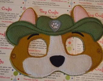 Tracker Ranger Scout Pup inspired felt mask dress up or Halloween Costume Pretend Play Imagination Education party favor