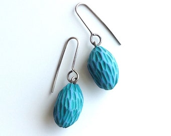 One of a kind, hand-carved, aqua, textured, drop earrings