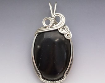 Shungite Sterling Silver Wire Wrapped Pendant